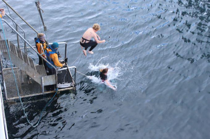 Man and woman jump in freezing Antarctic waters